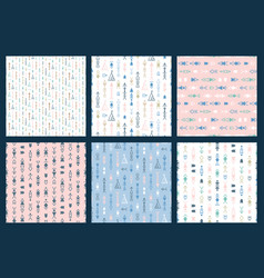 set of tribal seamless pattern backgrounds vector image