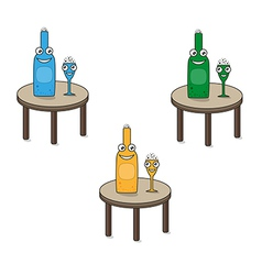 smiling funny glass and bottle on the table vector image