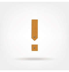 Wooden Boards Exclamation Mark vector image vector image