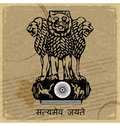 Coat of arms of India on the old postage card vector image vector image