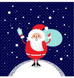 Cute retro Santa isolated on winter background vector image