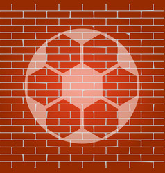 soccer ball sign whitish icon on brick vector image vector image