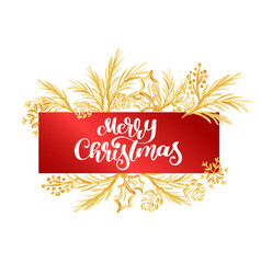 text merry christmas on a red tag on the vector image vector image