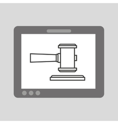hand holding tablet finance justice vector image