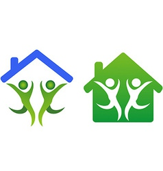 Happy family and home concept icon vector image