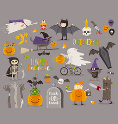 set of halloween sign symbol and objects vector image vector image