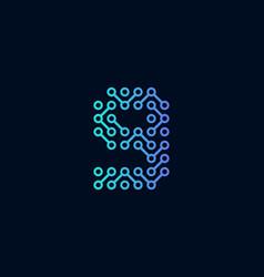 9 circuit technology letter logo icon design vector