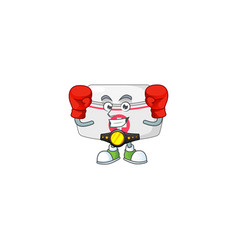A sporty nurse hat boxing athlete cartoon mascot vector