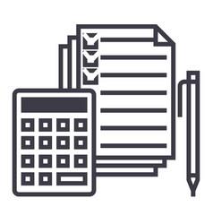 Accountingcalculator pen checkbox docs vector
