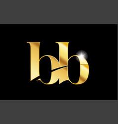 Alphabet letter bb b b gold golden metal metallic vector