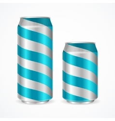 Aluminium cans with blue stripes vector