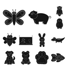 an unrealistic black animal icons in set vector image