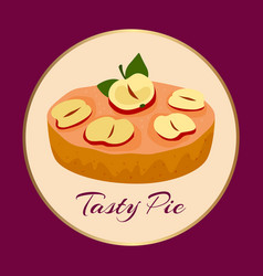 apple tasty pie on background vector image