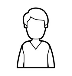 black thick contour caricature faceless half body vector image