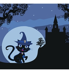 black witch cat vector image vector image