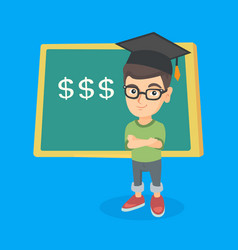 boy standing in front of board with dollar signs vector image