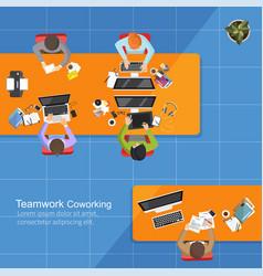 business analysis teamwork flat design teamwork vector image
