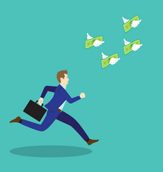 businessman chasing flying money vector image