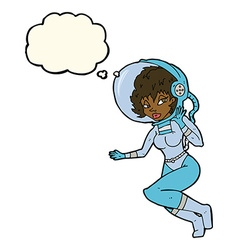 Cartoon space woman with thought bubble vector
