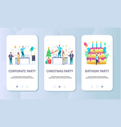 Celebrate events mobile app onboarding screens vector