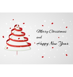 Christmas card wth ribbon tree vector