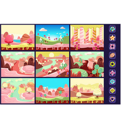 Collection of fairy tale landscapes sweet candy vector