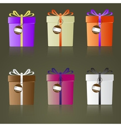 colorful gifts with ribbons and tags reflection vector image