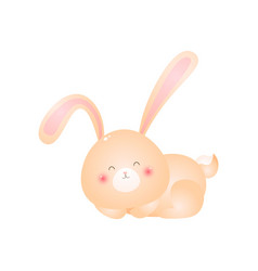 cute sleeping rabbit rolls up into a ball isolated vector image