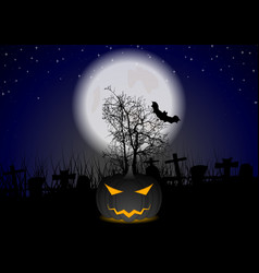 Dark halloween pumpkin monster on night cemetery vector