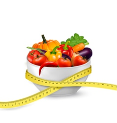 Diet meal Vegetables in a bowl with measuring tape vector