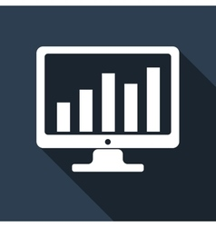 Display with business graph icon with long shadow vector image