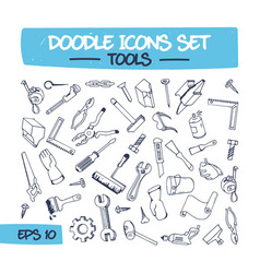 doodle set of hand tools vector image