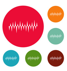 equalizer pulse icons circle set vector image