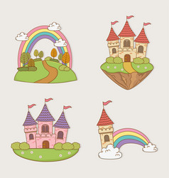 fairytale castles set landscapes vector image