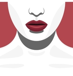 Fashion Beauty Female Model with red Lips vector