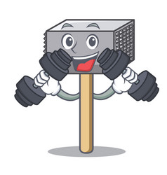 fitness character of metallic meat tenderizer vector image