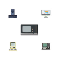 flat icon laptop set of vintage hardware display vector image