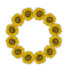 floral wreath with sunflowers vector image