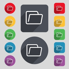 Folder icon sign A set of 12 colored buttons and a vector image