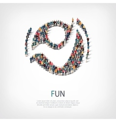Fun people sign 3d vector