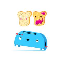 Funny cartoon toast and toaster vector