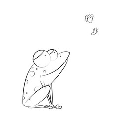 funny frog sits and catches butterflies on white vector image