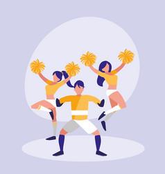Goalkeeper football and women cheerleader vector