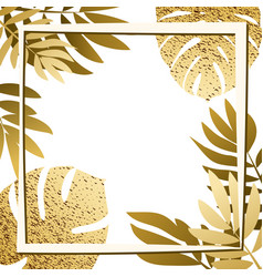 Golden tropical leaves with frame vector