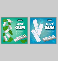 gum chewing bubble banner set realistic style vector image
