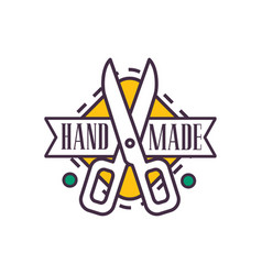 Handmade logo template retro needlework craft vector