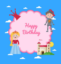 Happy birthday kids postcard with princess vector