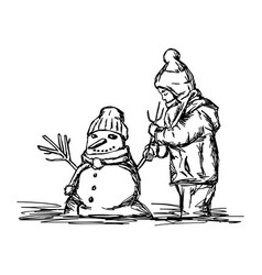 happy child building snowman outside in winter vector image