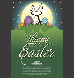 happy easter rabbit and easter painted eggs vector image