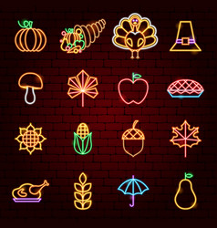 happy thanksgiving day neon icons vector image